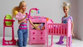 Barbie Doll Baby Sitter calls Disney Princess phone Barbie Puppy Tuffy help Barbie Doctor car  toy