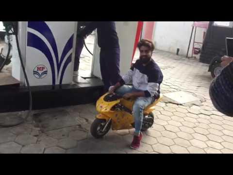 Mini Super bike on petrol pump making awsome sound.