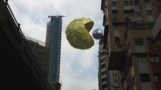 Pac Man Giant Robot Over Hong Kong