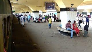 kishoreganj express train leaving Dhaka Kamlapur Railway Station Platform