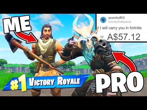 I Paid 12 Yr Old PRO To Carry Me In Fortnite