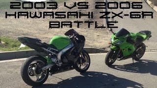 2003 VS 2006 Kawasaki ZX-6R 636 RACE BATTLE + BIKE SWAP