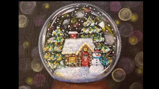 Christmas Snow Globe Cottage LIVE Acrylic Painting Tutorial