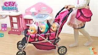 みつごの赤ちゃん ベビーカー お散歩 お世話遊び / Triple Stroller! Cry Babies Doll : Triple Baby Doll