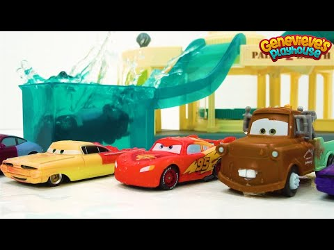 Color Changing Disney Cars Learning Video for Kids Race Day Fun