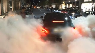 Mercedes CLS63 AMG - HUGE burnout covers street in smoke!