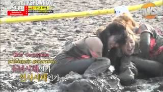 Running Man 254 funny taking clothes off(Lee Kwang Soo Ha Ha Yoo Jae Suk)  in the mud flat cut