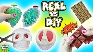 Real VS DIY Squishy Toys! Cutting Open Creepy SKULL Squishy! Homemade Squishy Toys Doctor Squish