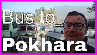 Bus to Pokhara Nepal from Kathmandu Arriving Pokhara Himalayan Trekking Annapurna Region Mountains