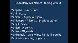 Indian Hindu Baby Girl Names M