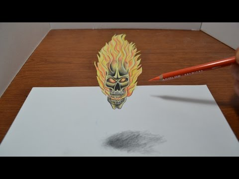 Drawing a Flaming Skull Tattoo Design 3D Trick Art