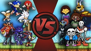 SONIC vs UNDERTALE TOTAL WAR (Sonic vs Sans, Papyrus, Chara, Frisk & More) Undertale AnimationRewind