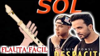 Despacito fonsi & Daddy Yankee versión FÁCIL para flauta dulce+pista+guía. Animación. Tutorial.