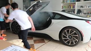 SETTING MY BROTHERS BMW i8 ON FIRE PRANK!! | FaZe Rug