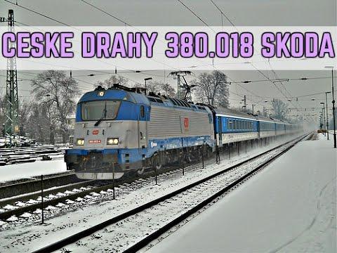Lokomotiva skoda 380.018 ceske drahy + 362.xxx eso na rychliku zssk / HD ZELEZNICNE VIDEO