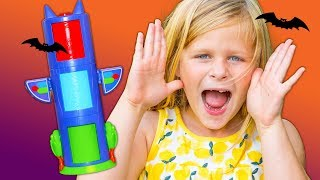 PJ MASKS Disney Spooky Transforming Towers with the Assistant Spiders + Paw Patrol Toys