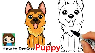 How to Draw a German Shepherd Puppy Easy