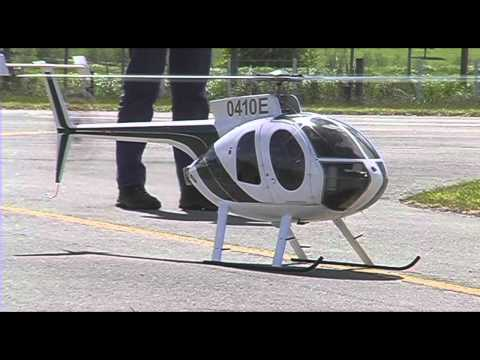 Jet turbine powered RC model helicopter Huges 500E