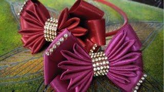 how to make kanzashi hair bow\diy ribbon bow