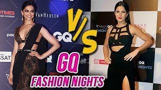 Deepika Padukone Hot Saree Look VS Katrina Kaif BOLD Black Dress At GQ Fashion Nights