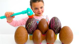 7 Giant Chocolate Surprise Eggs, Easter Eggs, Maxi Kinder Surprise with Surprise Toys inside