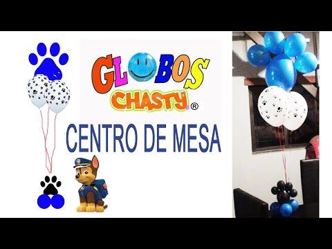 DECORACION CON GLOBOS CENTRO DE MESA PAW PATROL HUELLAS DE PERRO GLOBOS CHASTY
