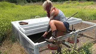 This is how she catches Cornish X Chickens at The Crouch Ranch on butcher day.. Redneck Engineering