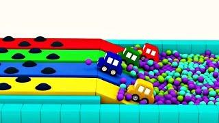 Dessin animé. 4 voitures colorées : une nouvelle COURSE. Vidéo 3D pour enfants #apprendrelecouleur