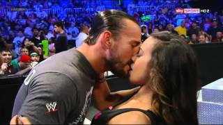 AJ Kisses CM Punk & Daniel Bryan on SmackDown 2012.07.03 Version 2 (Different Camera Angle)