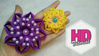 DIY  - Bintang Jatuh || Tutorial Simple Kanzashi Flower || Satin Ribbon Flower || HD Tutorial