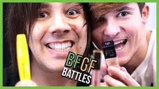 BOYFRIEND DOES MY MAKEUP CHALLENGE! - Popular YouTube Challenges - BFGF Battles