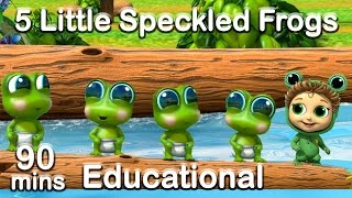 5 Little Speckled Frogs + 90 min Nursery Rhymes Compilation (Learn Counting and Colors)