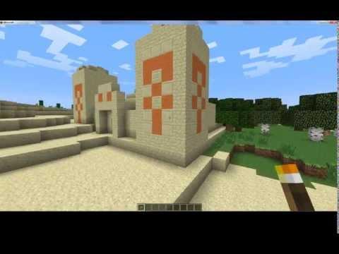 Spawner devant un biome champignon, un village de PNJ, un temple forêt et désert et un biome messa