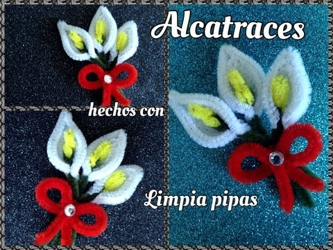 ALCATRACES HECHOS CON LIMPIA PIPAS. PIPE CLEANER CALLA LILIES .