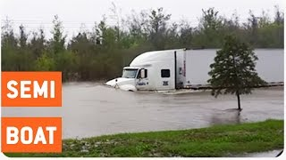 Semi Truck Drives Through Flooded Street | No F's Given