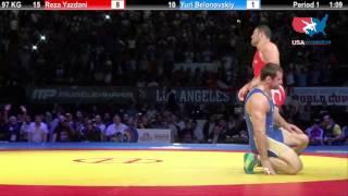 1ST PLACE: 97 KG Reza Yazdani (Iran) vs. Yuri Belonovskiy (Russia)