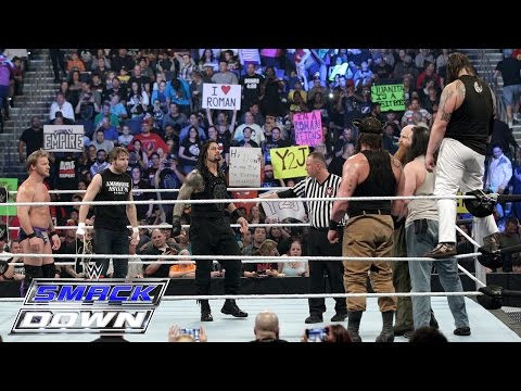 Roman Reigns Dean Ambrose & Chris Jericho vs. Bray Wyatt Harper & Rowan SmackDown Jan. 28 2016