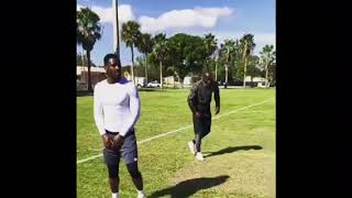 Antonio Brown and Chad Johnson Working Out Before Steelers Playoff game