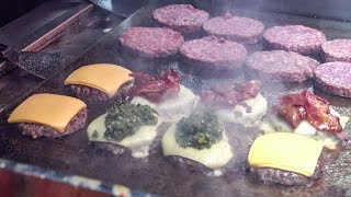 BIG BURGERS, Juicy Fillings, Melted Swiss Cheese and Bacon. London Street Food
