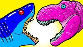 """My Cute Shark Attack Cartoon #50 (Shark-Copter vs. Dino-Copter!!! BEST OF!!) kids cartoons!"
