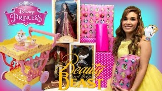 OPENING DISNEY BEAUTY AND THE BEAST MOVIE TOYS Princess Belle Costume IRL Presents Dolls Surprises