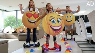 THE EMOJI MOVIE Crazy Hoverboard Challenge In Our House! Part 2 Family Fun Games