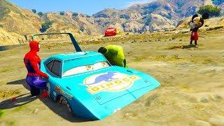 Cars 3 Movies Spiderman &Hulk Rescue Dinoco King From Swamp w Disney Cars 3 Spiderman Cartoon For Ki