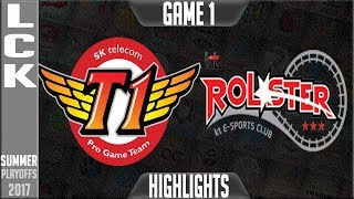 SKT vs KT Highlights Game 1 LCK Playoffs Semifinal Round 3 Summer 2017 SKT T1 vs KT Rolster G1