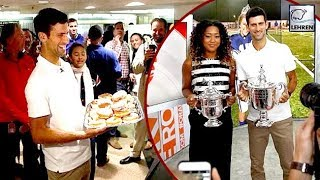 Novak Djokovic Gives Out Doughnuts & Floss Dances For New York Trophy Tour