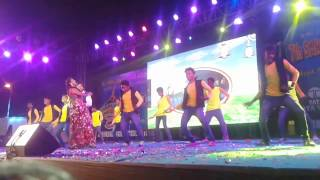 JHARKHAND cine award. Lakhan Soren and Manjula performing on the stage the song of sari jakit mat