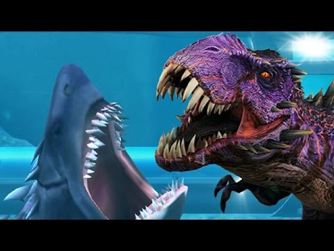 MEGALODON SHARK Vs OMEGA T.REX BOSS BATTLE - Jurassic World The Game Ep 4 HD