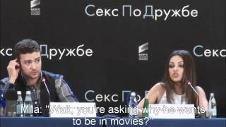 Mila Kunis Smacks Down A Reporter In Russian - with Sub Titles