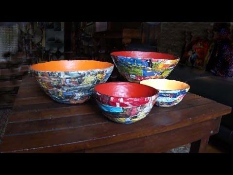 vasilhas de jornal e revista Bowls of newspaper and magazines CUENCO CON periódicos y revistas