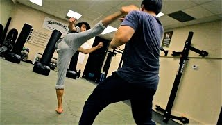 Group Martial Arts Fight Scene Practice Session